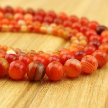 Aobei Pearl, 1 Strand from the Sale, Round Striped Agate Beads in 6 mm / 8 mm / 10 mm / 12 mm / 14 mm / 16 mm with 1.2 mm Hole, ETS-TD047