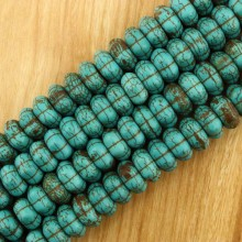 2 string of about 108 pcs,  ETS -TD052    54pcs pumpkin turquoise beads diameter 1.5mm hole size 7mm * 14mm