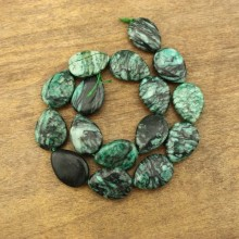 16 pcs for one strand,  18 mm * 25 mm Green drop gemstone beads, stripe stone beads, wholesale, ETS - TZ007