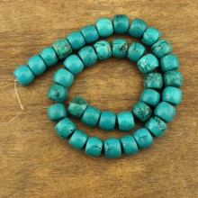 38 beads 10 mm * 12 mm button turquoise beads, loose beads, turquoise, beads, ETS - TZ046