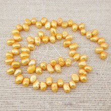 14.5 '' AA 6-7 mm gold freshwater baroque pearl strands, pearls in bulk, pearls, gemstone, beads, ETS - Z002