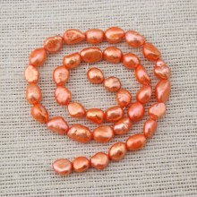 AA 8-9 mm orange baroque pearl strands, baroque pearls, pearl beads, strands, ETS - Z035