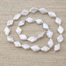 13-14mm*9-10mm rhombus pearl strand for necklace making,pearl strand jewelry,necklace pearl,pearl necklace,natural beads supplier,white pearl, ETS-Z051