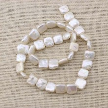 Large pearl strand beads, one full strands, 9-10 mm square pearl strand, white pearl strand,cultured pearl strand,natural pearls,ETS-Z052