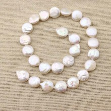 13-14mm coin pearl strand for necklace making,pearl strand jewelry,necklace pearl,pearl necklace,natural beads supplier,white pearl,ETS-Z056