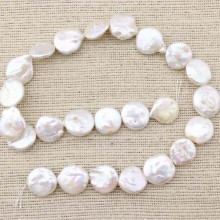 15-16 mm coin pearl strand for necklace making,pearl strand jewelry,necklace pearl,pearl necklace,natural beads supplier,white pearl,ETS-Z063