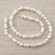 Aobei Pearl, 1 Strand from the Sale, 37 cm in Length of Each 7-8 mm Cucurbit Pearl Strand, Natural Pearl Strand, Pearl Beads Strand, Necklace Pearl Strand, ETS-Z066