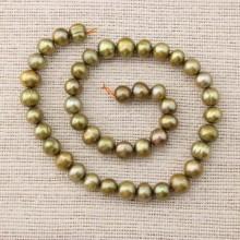 Natural freshwater pearl strand,potato pearl strand,high luster pearl strand,9-10 mm Green bronze pearl strand,genuine pearl strand,ETS-Z068