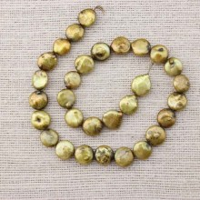 13-14mm coin pearl strand for necklace making,pearl strand jewelry,necklace pearl,pearl necklace,natural beads supplier,Green bronze pearl,ETS-Z069
