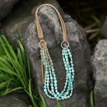 Aobei Pearl Handmade Personal Necklace made of Korean Velvet and Natural Amazonite, ETS-S762