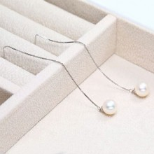 Aobei Pearl, Handmade Earring with 9-9.5 mm Round Freshwater Pearl and 925 String Silver Chain, Pearl Earrings, Dangle Earring, Silver Earring, ETS-E063