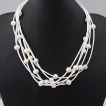 Aobei Pearl, Handmade Five Laps Fashion Necklace Made of  White Korean Velvet and White Freshwater Pearl and Silver Clasp, ETS-N005