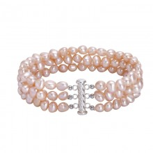 Aobei Pearl Handmade Bracelet made of Freshwater Pearl and 925 String Silver Toggle Clasp, 3-row Pink Freshwater Cultured Pearl Bracelet, Wrap Bracelet, ETS-B453