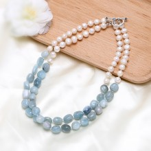 Aobei Pearl, Handmade Wrap Necklace made of Freshwater Pearl and Aquamarine, Pearl Necklace, Bib Necklace, Aquamarine Necklace, ETS-S642