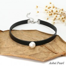 Aobei Pearl - Freshwater Pearl Necklace made of Leather Cord and Stainless Steel Clasp, Pearl Necklace, Pearl Choker Necklace, Adjustable Necklace for Women, ETS-S577