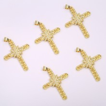 Aobei Pearl, 2 PCS from the Sale,18K Gold Plated Micro Inlay Cross Pendant Charm for Jewelry Making, Jewelry Findings, DIY Jewelry Material,ETS-K1184