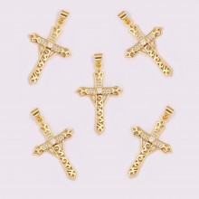 Aobei Pearl, 2 PCS from the Sale,18K Gold-Plated Cross with Micro-set Round GemsCharm for Jewelry Making, Jewelry Findings, DIY Jewelry Material,ETS-K1190