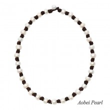 Aobei Pearl - Handmade Necklace made of 10-11 mm Freshwater Pearl and Genuine Leather Cord, Braided Necklace, Pearl Necklace, Button Pearls for Women Jewelry, ETS-S297
