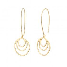 Aobei Pearl Dainty Brushed Half Round Dangle Earring, Gold Hollow Circle Drop Earring for Women, Hoop Earring, ETS-E295