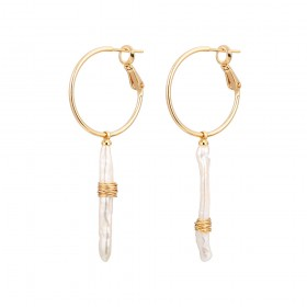 Aobei Pearl ,18K gold-plated earrings,freshwater pearlearring,gold wire winding earring,classic accessories earrings,golden earrings,Jewelry for Women,fashion ladies gifts ETS-E323