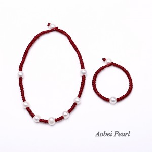 Aobei Pearl Handmade Freshwater Pearls Choker Necklace and Bracelet Set for Teens, Jewelry Set, Pearl Necklace, Pearl Bracelet, Braided Jewelry, ETS-S516