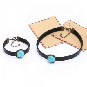 Aobei Pearl Handmade Necklace made of 23 mm Natural Turquoise and Black Leather Cord, Handmade Fashion Necklace & Bracelet, Jewelry Sets, ETS-S559