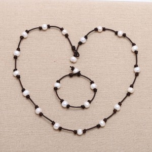 Aobei Pearl, A Set of Handmade Necklace and Bracelet on Pearl & Leather Cord, Pearl Necklace, Pearl Bracelet, ETS-S152