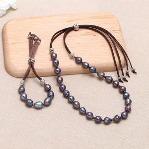 Aoebi Pearl, Handmade Pearl & Suede Jewelry Set, Pearl Necklace, Pearl Bracelet, ETS-S086