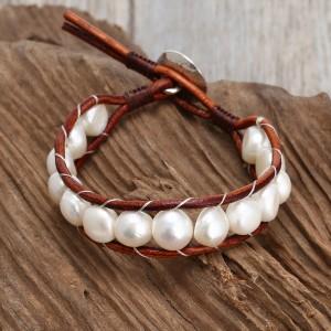 White pearl leather bracelet, brown leather bracelet, beaded bracelet, ETS - B0010