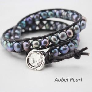 Aobei Pearl - Handmade Baroque Pearl & Leather Cord Wrap Bracelet, Pearl Bracelet, ETS-B009