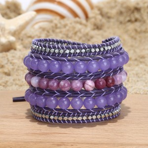 Aobei Pearl, Handmade Wrap Bracelet with 8 mm Natural Stones, 3 mm * 3 mm Hematite and Real Leather Cord, Handmade Bracelet, Hematite Bracelet, Leather Bracelet, Natural Stone Bracelet, ETS-B492