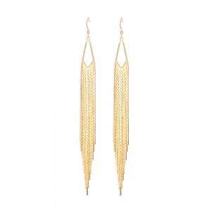"""Aobei Pearl ,18K Gold Plated Tassel earrings ,5.5"""" long fringe earrings,screw thread fishook with soft silicone earring back,chandelier sleek herringbone chain,Fine handmade jewelry,long chain earrings for women ETS-E312"""