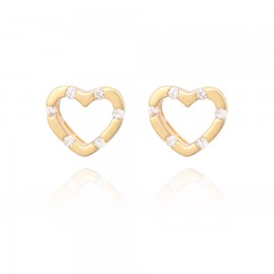 Aobei Pearl Dainty Earrings 18K Gold Plated Stylish Hollow Heart Shape ,8 mm Stud for Women,Exquisite handicrafts, Minimalist Jewelry for Mother's Day Gift,ETS-E313