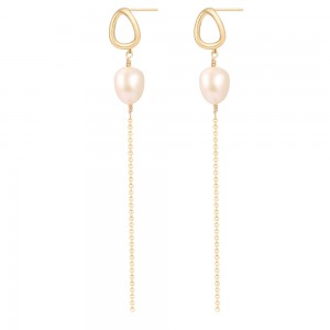 Aobei Pearl,Long tassel earrings,10-11MM white AAA baroque freshwater pearl and 18K gold-plated accessory earrings,silica gel and gold butterfly earring nuts,Jewelry for Women,ladies gifts ETS-E315