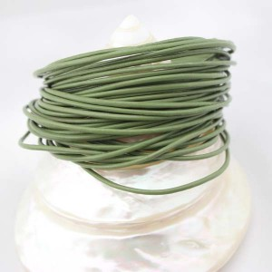 Aobei Pearl, 10 Yards from the Sale, Handmade 2.0 mm Green Round Genuine Leather Cord, Jewelry Findings, ETS-P005