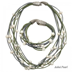 Aobei Pearl, Handmade Jewelry Set with Genuine Leather Cord and 9-10 mm Potato Freshwater Pearl, Pearl Necklace & Pearl Bracelet, ETS-S001