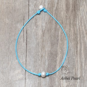 Aobei Pearl - Handmade Freshwater Pearl Choker Necklace Choker on Colorful Genuine Leather Cord, Pearl Necklace, ETS-S1001-2