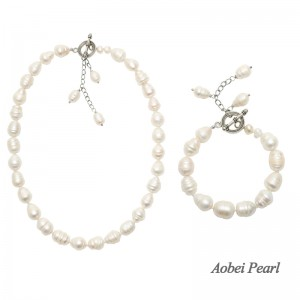Aobei Pearl, Handmade Necklace & Bracelet with Freshwater Pearl and Alloy Accessory, ETS-S243