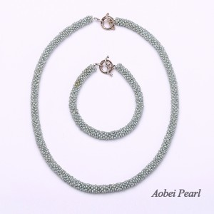 Aobei Pearl, Unique Jewelry Set, Only 1 Set Available, Handmade Jewelry Set made of Freshwater Pearl and 925 String Silver Clasp, Pearl Necklace, Pearl Bracelet, Beaded Necklace, ETS-S267