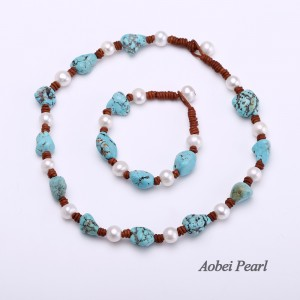 Aobei Pearl Handmade Jewelry Set made of Turquoise, Freshwater Pearl and Genuine Leather Cord, Leather Pearl Necklace, Beaded Bracelet, ETS-S320