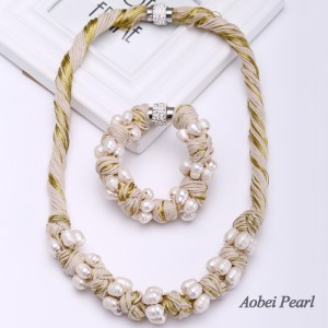 Aobei Pearl Handmade Jewelry Set made of Freshwater Pearl and Cotton Thread, Bib Necklace, Pearl Necklace, Braided Bracelet, Pearl Bracelet, ETS-S476