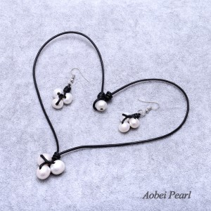 Aobei Pearl Handmade Jewelry Sets with Freshwater Pearl and Genuine Leather Cord, Leather Pearl Necklace, Dangle Earring, ETS-S606