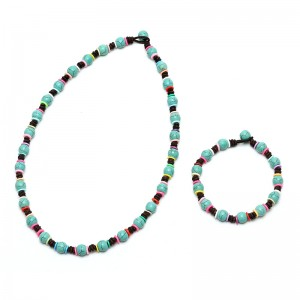 Aobei Pearl, A Set of Handmade Leather Necklace & Bracelet made of 8 mm Turquoise and Silicone Gasket, ETS-S737