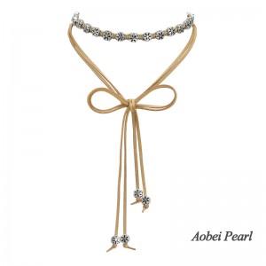 Aobei Pearl, Handmade Necklace / Bracelet made of Braided Korean Velvet and Flower Alloy Accessory, Wrap Bracelet, Wrap Necklace, ETS-S883