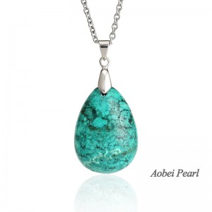 Aobei Pearl Handmade Necklace made of Turquoise Pendant and Stainless Steel Chain, Pendant Necklace, ETS-S887