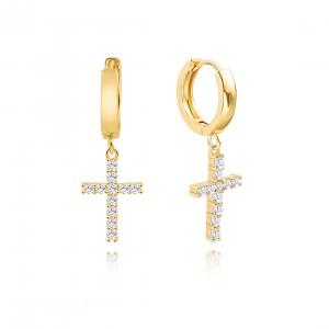 Aobei Pearl,18K Gold Cross Huggie Hoop Earrings for Women Trendy Simple Drop Dangle Cute Earring for Girl Dainty Cubic Zirconia Cross Hypoallergenic Women Earrings,ETS-E359