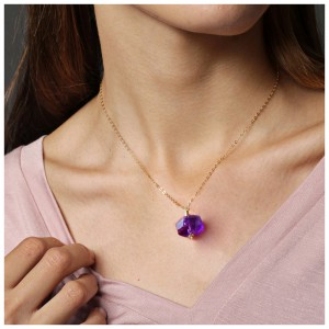 Aobei Pearl Amethyst Pendant Necklace Adjustable 18K Gold Plated Chain Strand Handmade Gemstone Jewelry, Dangle Necklace, Gold Chain Choker, ETS-S998