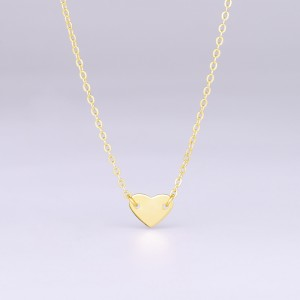 Aobei Pearl Heart Pendant Choker 18K Gold Chain Strand Handmade Adjustable Jewelry for Women, Gold Heart Love Necklace, ETS-S1004