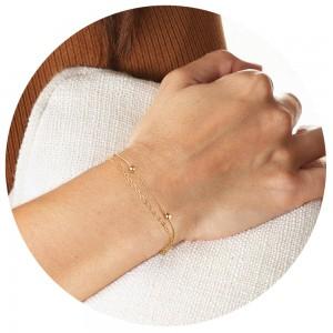 Aobei Pearl 18K Gold Layering Chain Bracelet for Women, Handmade Adjustable Jewelry for Girls, Satellite Chain Strand, Wrap Bracelet, ETS-B563