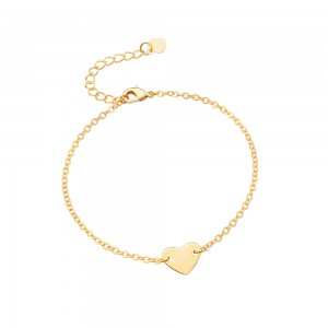 Aobei Pearl Handmade Love Heart Bracelet on 18 K Gold Plated Chain and Lobster Clasp, Chain Bracelet, Adjustable Bracelet, ETS-B566